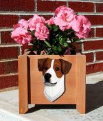 Jack Russell Terrier Planter Flower Pot Smooth Brown White