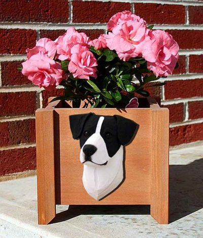 Jack Russell Terrier Planter Flower Pot Smooth Black White 1