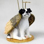 Jack Russell Terrier Smooth Coat Black & White Guardian Angel Ornament with Halo, String, Wings, and Gold Base