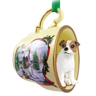 Jack Russell Terrier Dog Christmas Holiday Teacup Ornament Figurine Brown/White Smooth 1