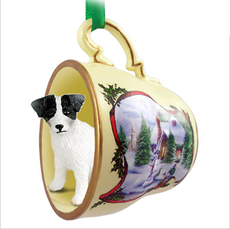 Jack Russell Terrier Dog Christmas Holiday Teacup Ornament Figurine Blk/Wht Rough