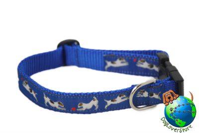 Jack Russell Dog Breed Adjustable Nylon Collar Medium 10-16″ Blue 1