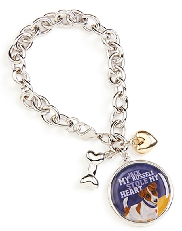 Jack Russell Terrier Charm Bracelet w/ Heart & Bone Silver