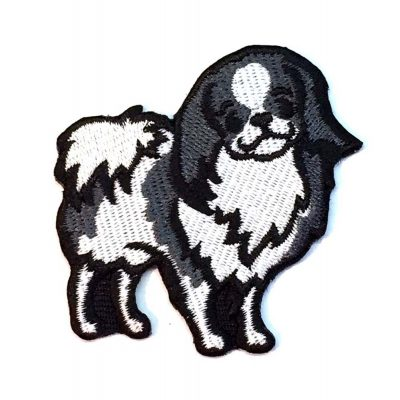 Japanese Chin Iron on Embroidered Patch Black