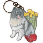 Keeshond Wooden Dog Breed Keychain Key Ring
