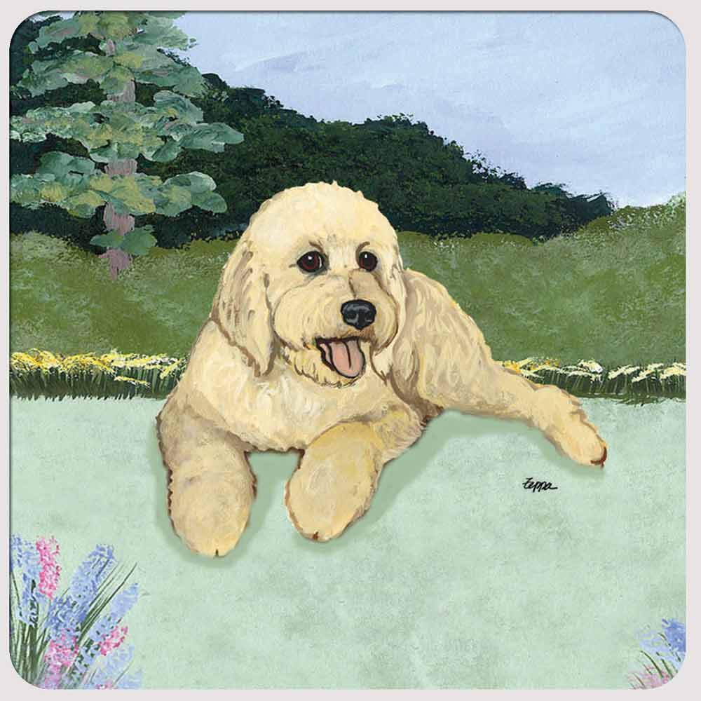Labradoodle Yard Scene Coasters Set of 4 Cream