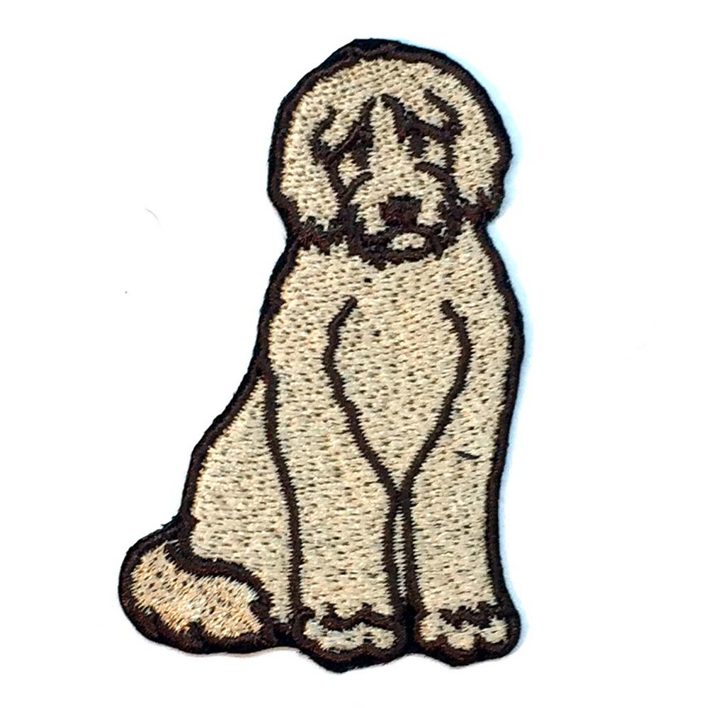 Labradoodle Iron on Embroidered Patch Blonde