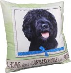 Labradoodle Pillow 16x16 Polyester Black
