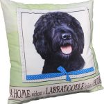 Labradoodle Pillow 16×16 Polyester Black 1