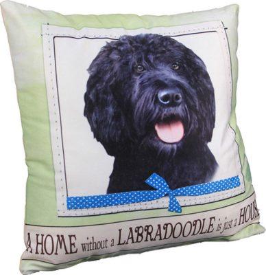 Labradoodle Pillow 16×16 Polyester Black 1