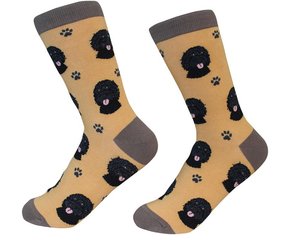 Labradoodle Face Pattern Socks Black