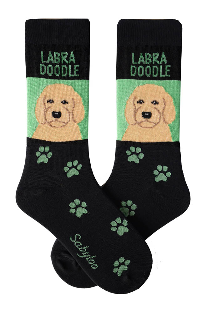 Labradoodle Blonde Socks - Green and Black in Color
