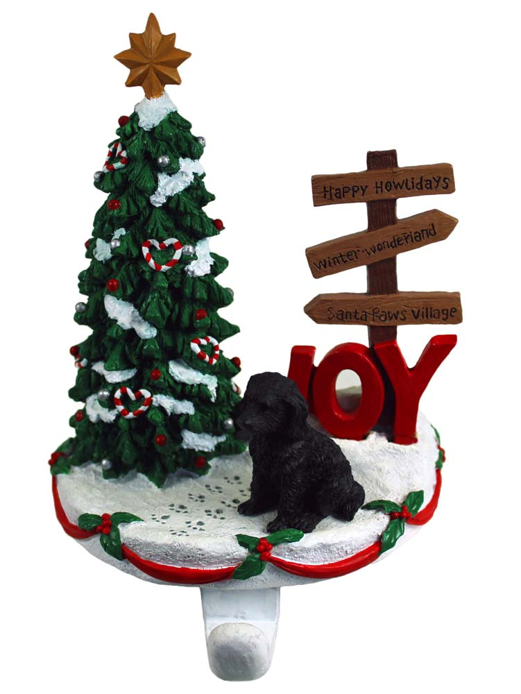 Labradoodle Stocking Holder Hanger Black