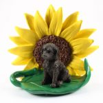 Labradoodle Chocolate Figurine Sitting on a Green Leaf in Front of a Yellow Sunflower