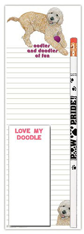 Labradoodle Dog Notepads To Do List Pad Pencil Gift Set