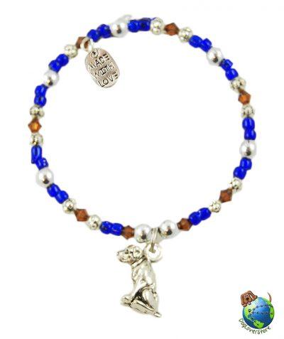 Labrador Beaded Charm Bracelet Silver Handmade 1