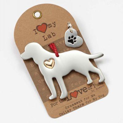 Labrador Retriever Holiday Ornament & Collar Charm Set