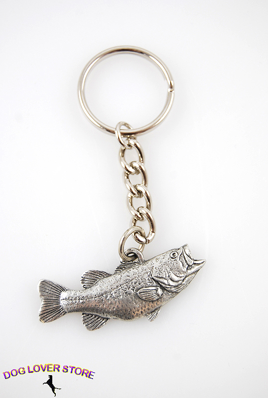 Largemouth Bass Fish Fine Pewter Silver Keychain Key Chain Ring