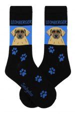 Leonberger Socks on Blue Background