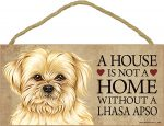 Lhasa Apso Wood Dog Sign Wall Plaque 5 x 10 + Bonus Coaster
