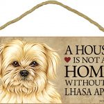 Lhasa Apso Wood Dog Sign Wall Plaque 5 x 10 + Bonus Coaster 1
