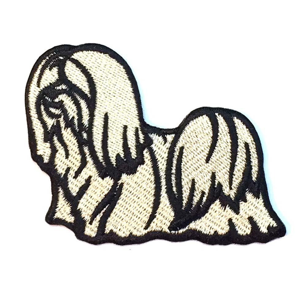 Lhasa Apso Iron on Embroidered Patch Blonde