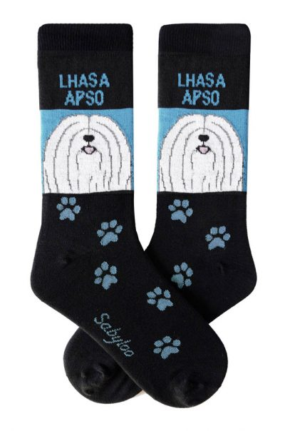 Lhasa Apso White Socks - Black and Blue in Color