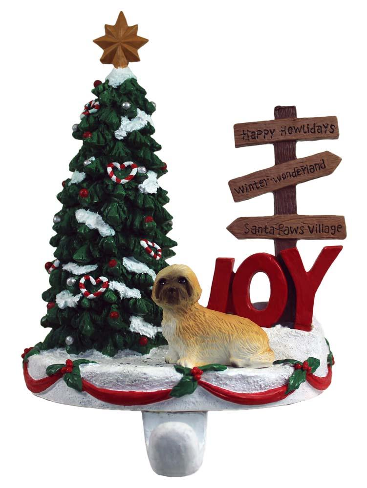 Lhasa Apso Stocking Holder Hanger Tan Puppy Cut