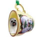 Lhasa Apso Dog Christmas Holiday Teacup Ornament Figurine Gray