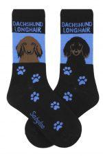 Dachshund Socks Red Longhair Black/Brown