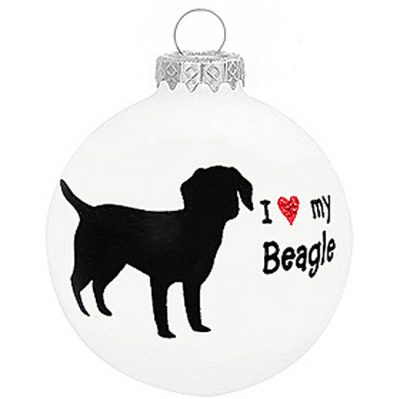 I Love My Beagle Christmas Holiday Glass Personalized Custom Dog Ornament 1