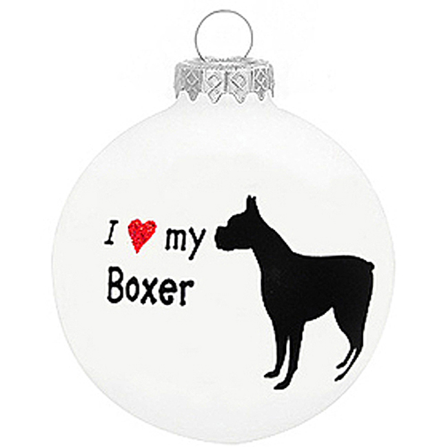 I Love My Boxer Christmas Holiday Glass Personalized Custom Dog Ornament