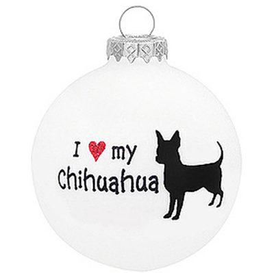 I Love My Chihuahua Christmas Holiday Glass Personalized Custom Dog Ornament
