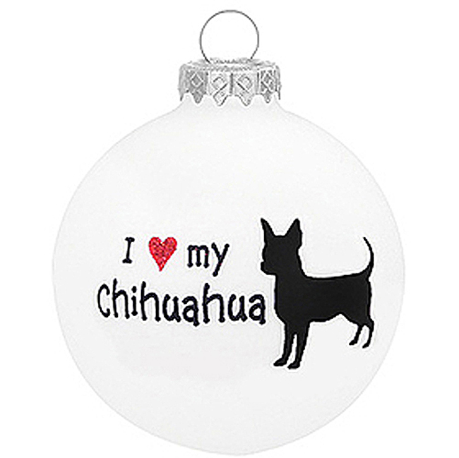 - I Love My Chihuahua Glass Christmas Ornament -