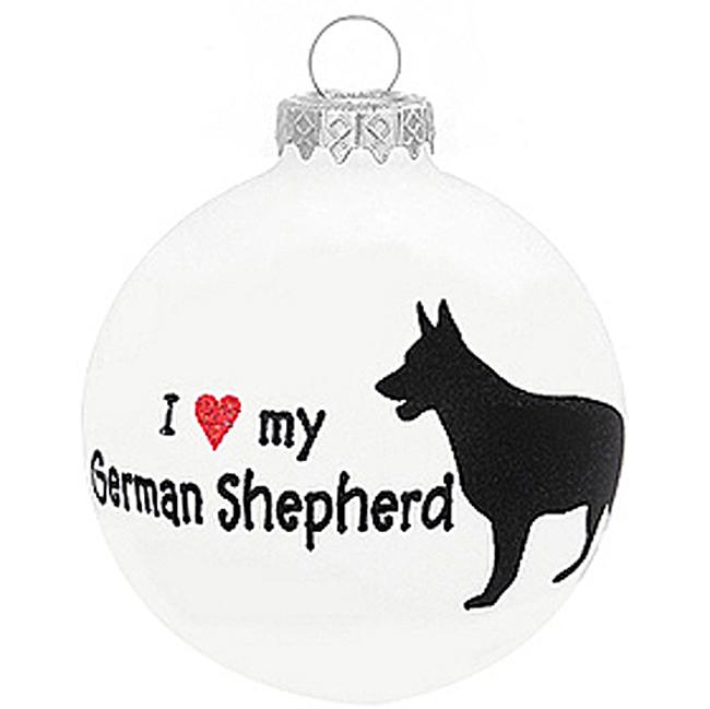 I Love My German Shepherd Christmas Holiday Glass Personalized Dog Ornament