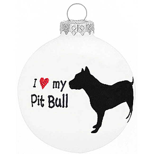 I Love My Pit Bull Christmas Holiday Glass Personalized Custom Dog Ornament