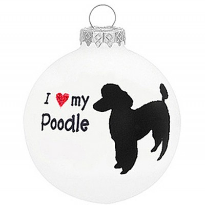 I Love My Poodle Christmas Holiday Glass Personalized Custom Dog Ornament 1