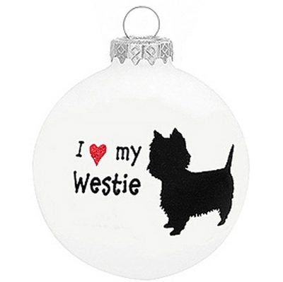 I Love My Westie Christmas Holiday Glass Personalized Custom Dog Ornament