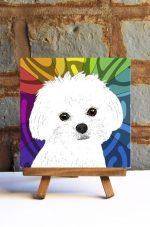 Maltese Puppy Cut Colorful Portrait Original Artwork on Ceramic Tile 4x4 Inches