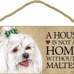 Maltese Wood Dog Sign Wall Plaque Photo Display 5 x 10 – House Is Not A Home + Bonus Coaster 1