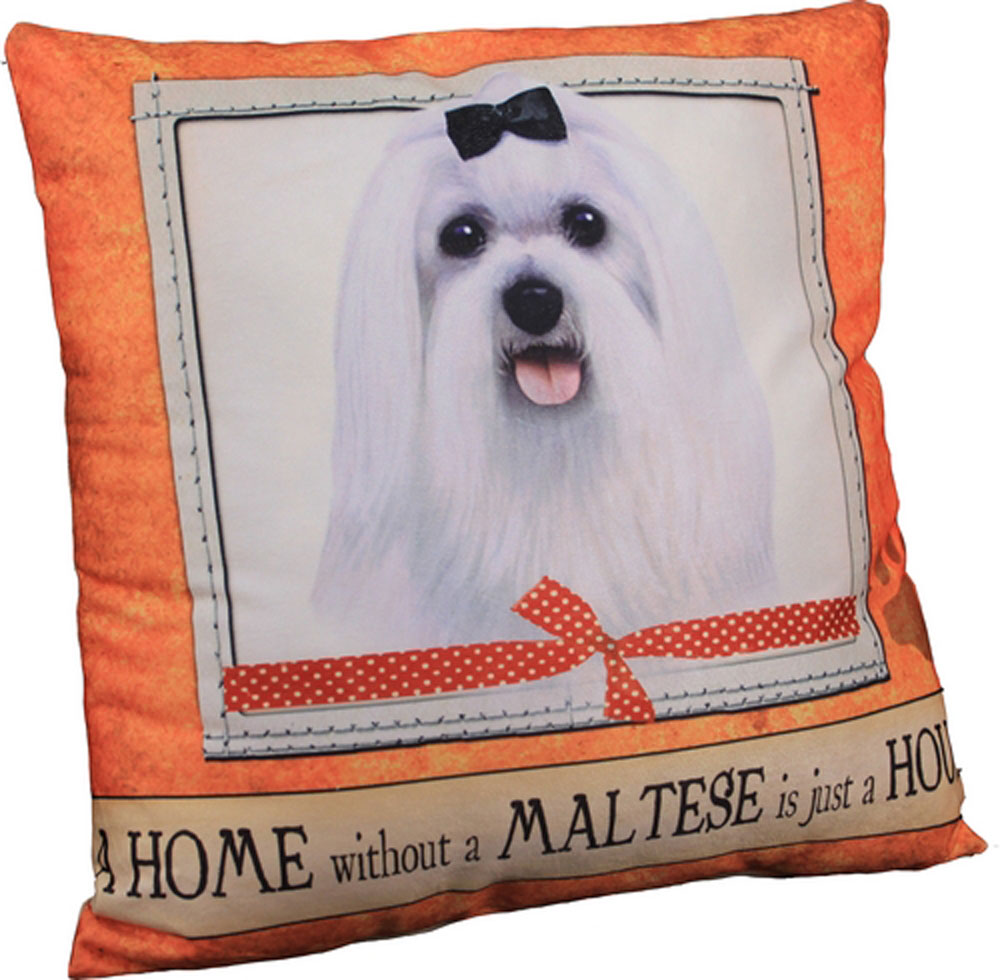 Maltese Pillow 16x16 Polyester Puppy Cut