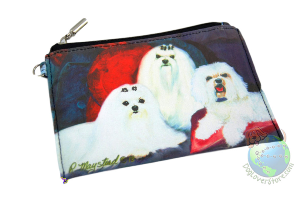 3 Maltese Sitting on Couch Design on Zippered Coin Pouch Wallet