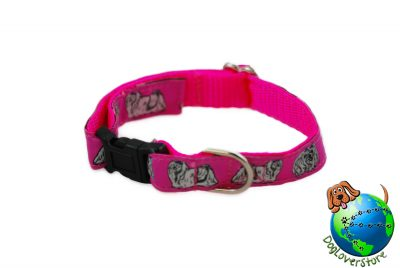 Maltese Dog Breed Adjustable Nylon Collar Small 7-11″ Pink 1