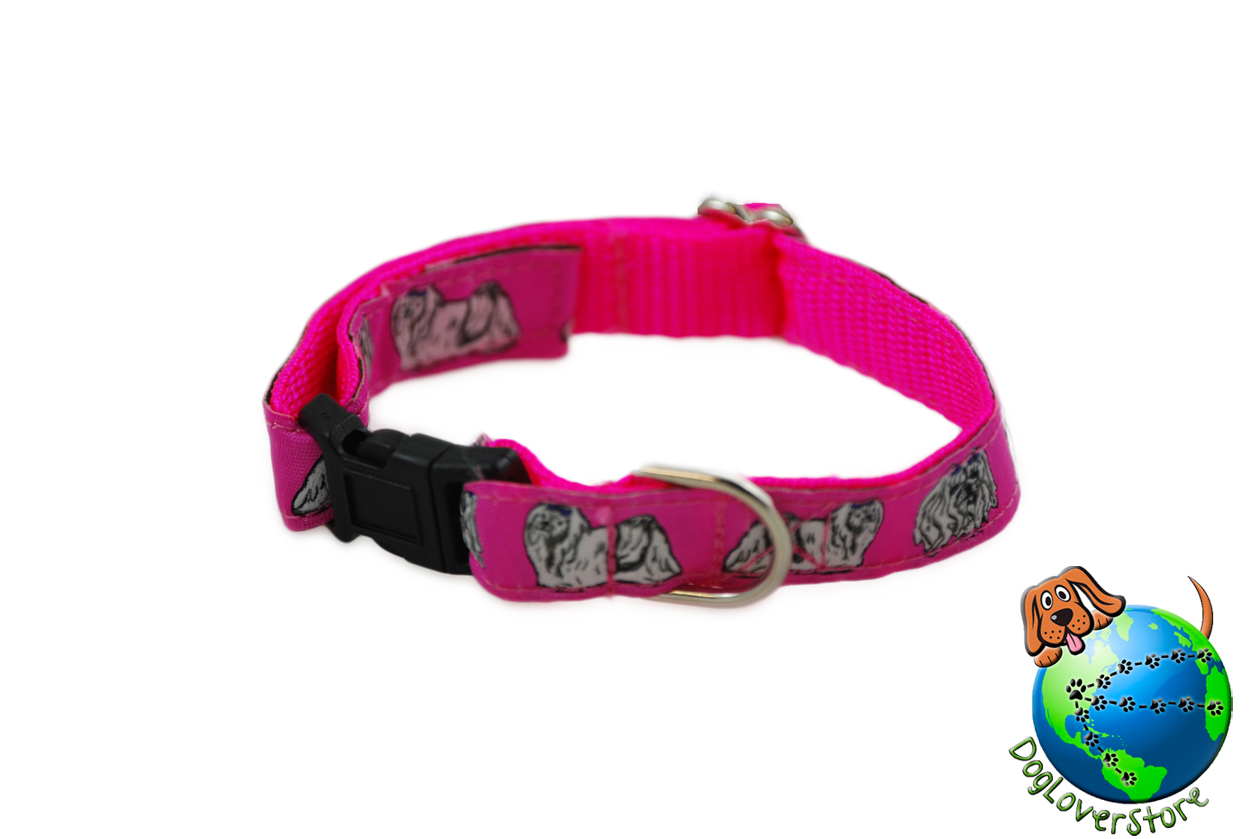 "Maltese Dog Breed Adjustable Nylon Collar Small 7-11"" Pink"