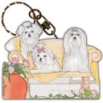 Maltese Wooden Dog Breed Keychain Key Ring 1