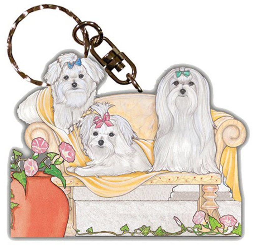 Maltese Wooden Dog Breed Keychain Key Ring