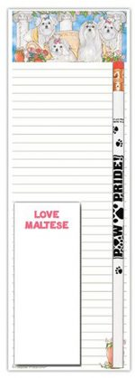 Maltese Dog Notepads To Do List Pad Pencil Gift Set