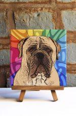 Mastiff Colorful Portrait Original Artwork on Ceramic Tile 4x4 Inches