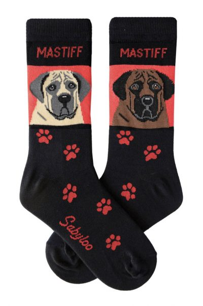 Mastiff Fawn and Brindle Socks - Red and Black in Color