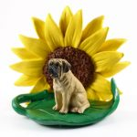 Mastiff Figurine Sitting on a Green Leaf in Front of a Yellow Sunflower